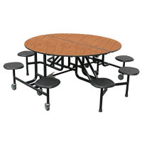 "Custom Logo Mobile Six Stool ADA Table - 32""H, K10062"