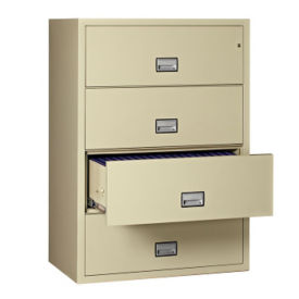 "Fire Resistant Four Drawer Lateral File - 23.5"" D x 38.75"" W, L40776"