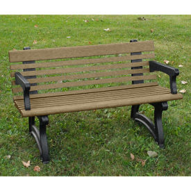 "Recycled Plastic Outdoor Bench with Back and Arms - 48""W, F10828"