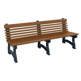 "Recycled Plastic Outdoor Bench with Back - 72""W, F10829"