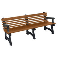 "Recycled Plastic Outdoor Bench with Back and Arms - 72""W, F10830"