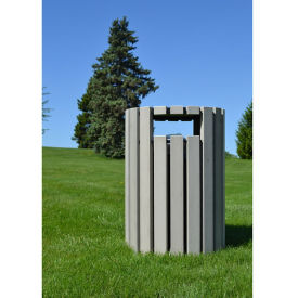Round Trash Receptacle with Rain Guard - 33 Gallon Capacity, R20331