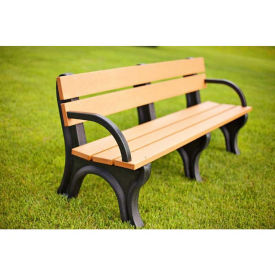 Recycled Plastic Economy Outdoor Bench with Arms - 6 Ft, F10565