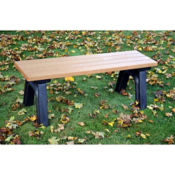 Recycled Plastic Outdoor Flat Bench without Arms - 4 Ft, F10568