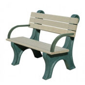 Recycled Plastic Outdoor Bench with Arms - 4 Ft, F10574