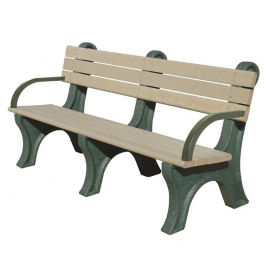 Recycled Plastic Outdoor Bench with Arms - 6 Ft, F10575