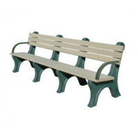 Recycled Plastic Outdoor Bench with Arms - 8 Ft, F10576