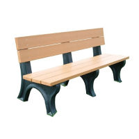 "Traditional Recycled Plastic Outdoor Bench - 72""W, F10199"