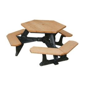 Plaza Recycled Plastic Hexagonal Picnic Table, F10204