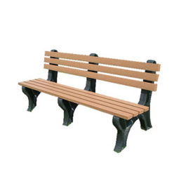"Economy Recycled Plastic Narrow Slat Outdoor Bench - 72""W, F10232"