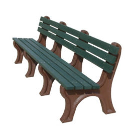 "Economy Recycled Plastic Narrow Slat Outdoor Bench - 96""W, F10233"