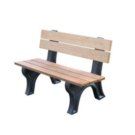 "Traditional Recycled Plastic Outdoor Bench - 48""W, F10237"