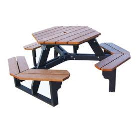 "Economy Recycled Plastic Hexagonal Picnic Table - 72""W, F10243"