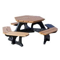 "Economy Recycled Plastic Hexagonal Picnic Table - 72""W, F10245"