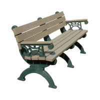 "Monarque 72""W Recycled Plastic Outdoor Bench with Arms, F10254"