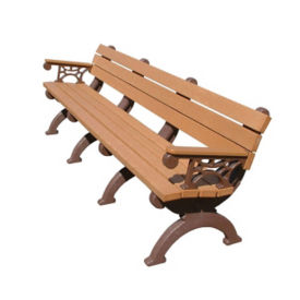 """Monarque Recycled Plastic Outdoor Bench with Arms - 96""""W, F10255"""