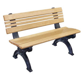 "Cambridge Recycled Plastic Bench with Back - 48""W, F10286"