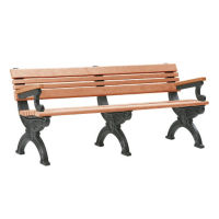"Cambridge Recycled Plastic Bench with Back and Arms 72""W, F10291"