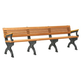 "Cambridge Recycled Plastic Bench with Back and Arms 96""W, F10292"