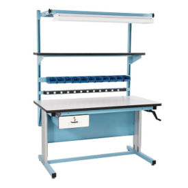 "Laminate Height Adjustable Workbench 60""Wx30""D, T11605"