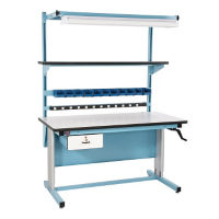 "ESD Laminate Height Adjustable Workbench 60""Wx30""D, T11606"