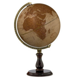 "Raised Relief Leather Expedition Globe - 12"" Diameter, V21460"