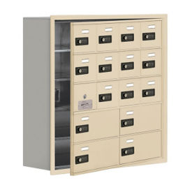 "15 Door Cell Phone Locker with Combo Lock and Access Panel - 30.5""W x 31""H, B34619"
