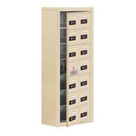 "13 Door Cell Phone Locker with Combo Lock and Access Panel - 17.5""W x 42""H, B34626"