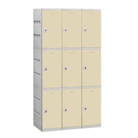 "Assembled Triple Tier Plastic Lockers -  38.25"" W, B34659"