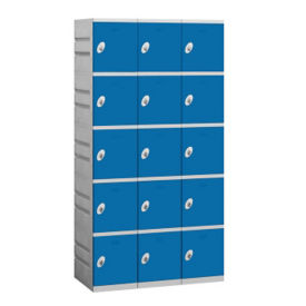 "Assembled Five Tier Plastic Lockers -  38.25"" W, B34667"