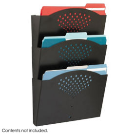 Black Steel Three Pocket Wall File Holder, B30421