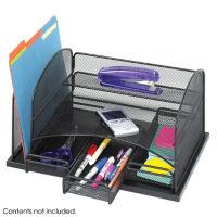 Black Steel Mesh Three Drawer Desk Organizer, B30424