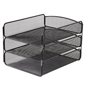 Black Steel Mesh Three Tier Letter Tray, B30430