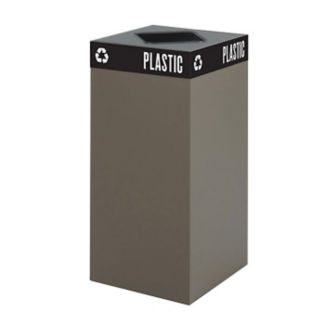 "31 Gallon Steel Trash Receptacle with Waste Top - 32""H, R20255"