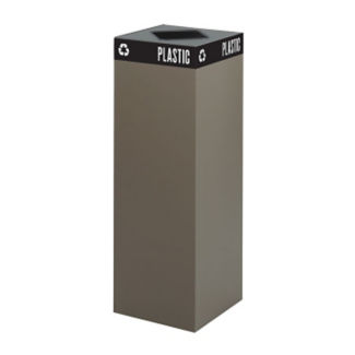 "42 Gallon Steel Trash Receptacle with Waste Top - 44""H, R20257"