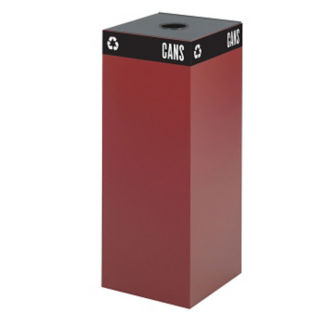 "37 Gallon Steel Trash Receptacle with Round Top - 38""H, R20260"