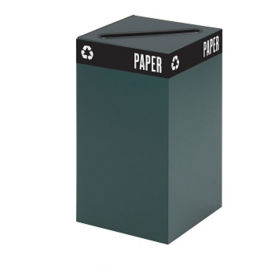 "25 Gallon Steel Recycling Receptacle with Paper Top - 26""H, R20262"
