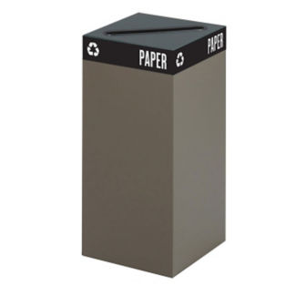 "31 Gallon Steel Recycling Receptacle with Paper Opening - 32""H, R20263"