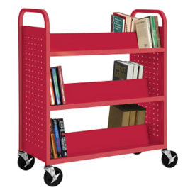Six Slanted Shelf Book Truck, V21402