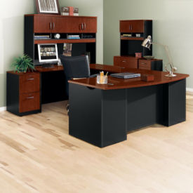 U-Desk Office Set with Locking Files, D35691
