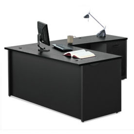 "Compact L-Desk with Lockable Mobile Pedestal - 60""W, D35695"