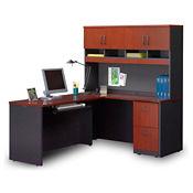 Compact L-Desk with Soft-Close Hutch , D35698