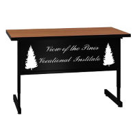 "Adjustable Height Training Table with Engraved Modesty Panel - 24"" x 48"", T11497"