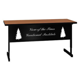 "Adjustable Height Training Table with Engraved Modesty Panel - 24"" x 60"", T11498"