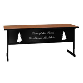 "Adjustable Height Training Table with Engraved Modesty Panel - 24"" x 72"", T11499"