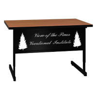"Adjustable Height Training Table with Engraved Modesty Panel - 30"" x 48"", T11500"