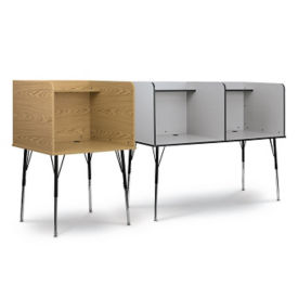 """Two Student Adjustable Height Study Carrels  - 70""""W, J10115"""