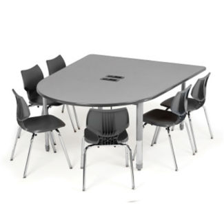 "Adjustable Height Multimedia Table with 8 AC Power Unit - 60.5""D, T11576"
