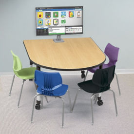 "Adjustable Height Medium Size Media Table with Two Outlets - 60"" x 48"", A10044"