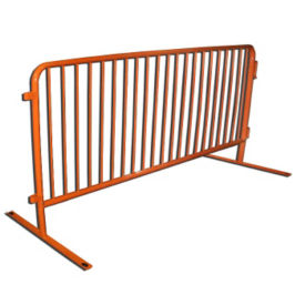 "Flat Foot PVC-Coated Steel Barricade 102""W , V21644"